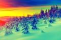 Картинка зима, снег, закат, горы, рассвет, елки, сугробы