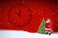 Картинка снег, елка, новый год, куранты, санта клаус