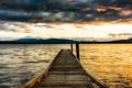 Картинка пейзаж, горы, вечер, озеро, пристань
