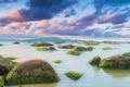 Картинка небо, облака, водоросли, скалы, холмы, лодки, силуэт