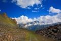 Картинка дорога, небо, облака, камни, Горы, Альпы