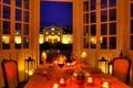 Картинка огни, дом, стол, вилла, вечер, свечи, бокалы