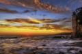 Картинка море, природа, скалы, башня