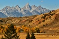 Картинка долина, осень, лошади, небо, дорога, горы, озеро