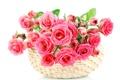 Картинка цветы, розы, розовые, pink, bouquet, roses, basket