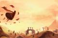 Картинка Journey, полет, руины, пустыня, листки, существа, арт