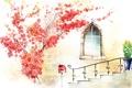 Картинка цветы, окно, лестница