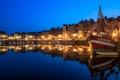 Картинка ночь, огни, отражение, люди, Франция, дома, лодки