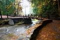 Картинка осень, деревья, мост, парк, ручей