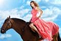 Картинка небо, девушка, конь