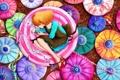 Картинка глаза, арт, зонтики, девочка