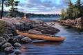 Картинка животные, туман, река, камни, лодка, утки, утро