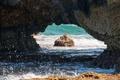 Картинка море, волны, брызги, скалы