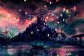 Картинка фонарики, блики, Рапунцель, ночь, озеро, шпили, замок