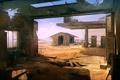 Картинка песок, пустыня, здания, заправка, арт, разруха, амбар