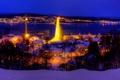 Картинка зима, небо, снег, ночь, мост, природа, огни
