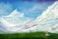 Картинка трава, облака, горы, природа, бабочка, арт, сидя