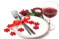 Картинка столовые приборы, нож, ягоды, тарелка, красное, вино, ёлка
