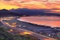 Картинка пейзаж, горы, город, океан, рассвет, taiwan