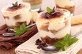 Картинка кофе, еда, шоколад, мята, крем, десерт, бисквит