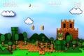 Картинка замок, трубы, деревья, марио, mario, небо, монетки