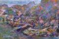 Картинка деревья, мост, река, холмы, картина, Naohisa Inoue