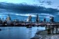 Картинка небо, облака, мост, город, река, фото, Англия