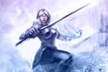 Картинка девушка, магия, меч, арт, guild wars 2, клинок, Bruce Mashbat
