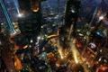 Картинка ночь, город, lights, огни, будущее, здания, future
