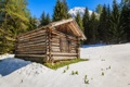 Картинка лес, солнце, дом, деревья, зима, Австрия, горы