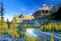 Картинка осень, деревья, горы, небо, река, озеро