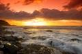 Картинка солнце, камни, океан, рассвет, берег, горизонт