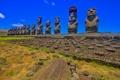 Картинка статуя, небо, остров Пасхи, моаи, Рапа-Нуи, Чили