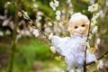 Картинка цветы, игрушка, рука, кукла, платье, блондинка