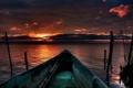 Картинка море, небо, вода, закат, лодка