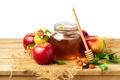Картинка яблоки, мед, honey, листики, leaves, гранат, веточки