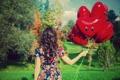Картинка листья, девушка, деревья, красный, фон, дерево, шары