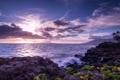 Картинка небо, тучи, камни, океан, рассвет, берег, Гаваи