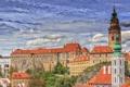 Картинка небо, облака, деревья, замок, башня, дома, Чехия