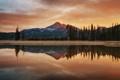 Картинка лес, деревья, облака, небо, горы, отражение, озеро