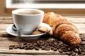 Картинка кофе, печенье, ложка, кофейные зерна, круассаны, кофейный аромат
