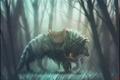 Картинка зверь, арт, лес, девушка