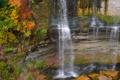 Картинка осень, деревья, скала, камни, водопад