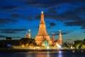 Картинка река, Bangkok, Таиланд, дворец, ночь, башни, огни