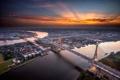 Картинка небо, город, вечер, Бангкок, мост Дипангкорн Расмийоти, река Менам-Чао-Прая