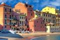 Картинка берег, Лигурия, дома, Италия, краски, Сестри-Леванте, море
