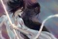 Картинка девушка, оружие, меч, лента, парень, Bleach, Блич