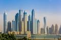 Картинка Dubai, skyline, sky, sea, water, buildings, plants