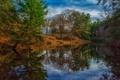 Картинка осень, лес, небо, облака, деревья, река