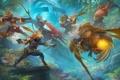 Картинка лес, оружие, фэнтези, арт, существа, битва